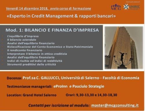 """CORSO DI FORMAZIONE: """"ESPERTO IN CREDIT MANAGEMENT & RAPPORTI BANCARI"""""""